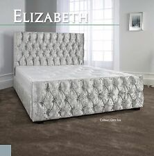 Elizabeth Crushed Velvet Fabric Bed 3FT 4FT6 5FT 6FT Headboard + Colour Options