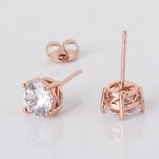 Anniversity 18k rose gold filled white sapphire women wedding stud earring