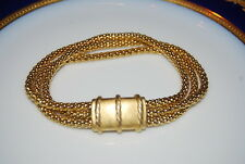 BEAUTIFUL VINTAGE MONET BRACELET GOLD TONED METAL CHAINS WITH SATIN FINISH PIECE