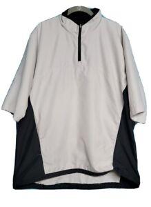 Zero Restriction Golf 1/2 Sleeve 1/4 Zip Pullover Jacket Beige Waterproof ZR