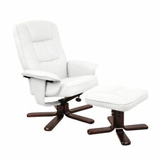 Recliner Chair Ottoman Set PU Leather Tilt Swivel Elegant Reclining Lounge White