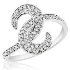 Crescent Cluster Cocktail Right Hand Ring 14K White Gold Pave Diamond Moon