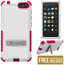 WHITE PINK TRI-SHIELD SOFT SKIN HARD CASE STAND SCREEN SAVER FOR AMAZON FIRE