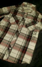 Boys Red Plaid Short Sleeve Helix Shirt Size Small 8/10