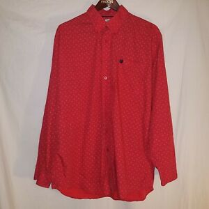 Cinch Button Up Shirt Mens XL Red Geometric Dash Dotted Long Sleeve Bright