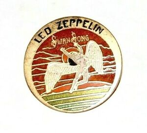 1974 Vintage LED ZEPPELIN LAPEL PIN Swan Song pinback button music memorabilia