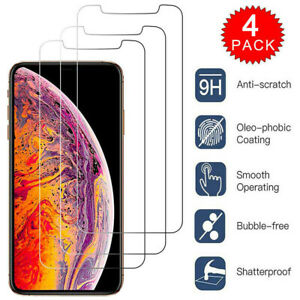 4 PACK Tempered Glass Screen Protector for New iPhone XS Max XR XS X 11 Pro Max