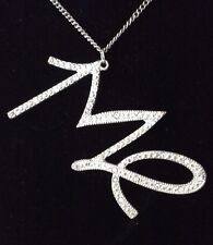 """Retro Necklace Pendant """"Me"""" Clear Crystals 24 inch Silver Plated Chain"""