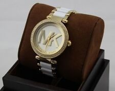 NEW AUTHENTIC MICHAEL KORS PARKER WHITE GOLD CRYSTALS WOMEN'S MK6313 WATCH