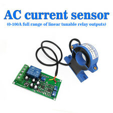 Current Detect Sensor AC 0-100A Full Range Linear Adjustable Relay Output