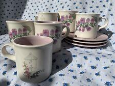 1990s Pfaltzgraff Cape May Birdhouse/Foxglove Mugs + Matching Saucers (Set of 6)