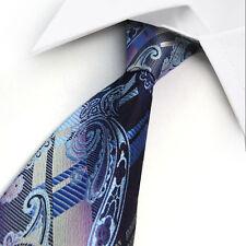 GIFTS FOR MEN Classic Mens Paisley Floral Silk Necktie Formal Tie Purple Blue