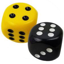 Set of 2 - 6 Sided Jumbo 32mm Round Corner Black & Yellow Dice Organza Bag