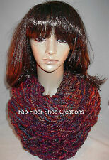 Handmade in the USA Womens Fashion Infinity Scarf Cowl Jewel Tones Purples Blues