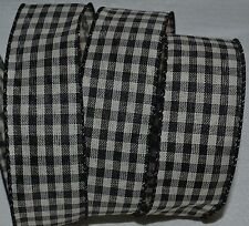 """Wired Ribbon~Black & Ivory Plaid~Holiday Check~1.5""""~Country~W reath~Gift~Bow"""