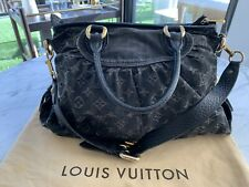 Authentic LOUIS VUITTON Black Denim Monogram Neo Cabby MM Handbag NEW LINER!!