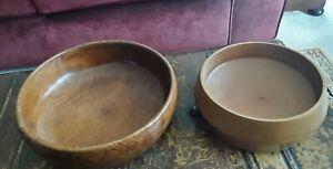 Vintage/Retro Turned Solid Wood  Fruit/Salad Bowls x 2