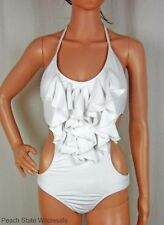 NWT Kenneth Cole Reaction Ruffle Front Monokini White Halter Swimsuit Size S