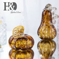Glass Hollowed Pumpkin Paperweight Hand Blown Ornament Figurine Home Collection