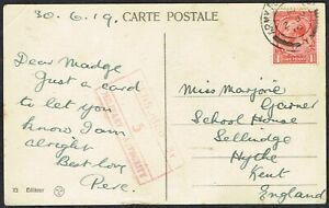1919 British Levant Postcard KGV 1d Red ARMY PO Cancel to Kent CENSORED Cancel