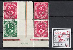 Bund 1951, Mich.-Nr.:  WZ 1  HAN  gestempelt geprüft  Befund