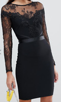 Lipsy Women's Black Lace Sleeve Bodycon Dress Size UK 8 New With Tags