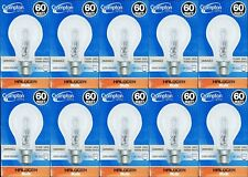 10 x 60W Clear Light Globes / Bulbs B22 Bayonet Halogen Warm White Dimmable A60