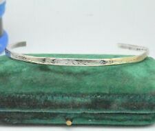 Vintage Sterling Silver thin Bracelet Hand Engraved Art Nouveau Art Deco #O898