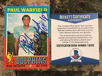 Paul Warfield Signed 1971 Topps #261 Dolphins Beautiful Bold Signature - Beckett