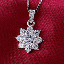 """Womens Sterling Silver White Crystal Snowflake Pendant Chain Charm Necklace 18"""""""