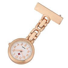 ShoppeWatch Nurses Lapel Pin Analog FOB Infection Control Watch Rose Gold NW-237