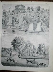 Antique 1875 Print Orange County NY Parry House and Residence of W H Keetch