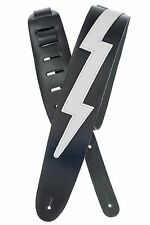 D'Addario - Planet Waves Leather Guitar Strap  Lightning Bolt  Black