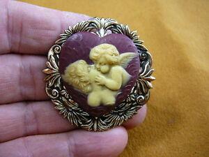 (cm69-8) WOMAN saved by CHERUB breath of life heaven CAMEO Pin Pendant Jewelry