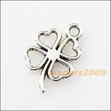18 New Clover Flower Heart Tibetan Silver Tone Charms Pendants 11x17mm