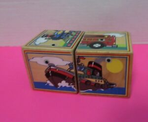 Vintage Lot Of 2 Wooden Puzzle Blocks Train Airplane Motorcycle Boat Ambulance