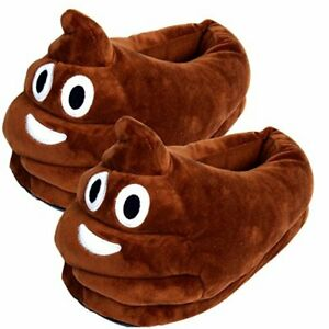 Poop Poo Emoji Christmas Cute Novelty Funny Joke Plush Slippers Gift Size 3