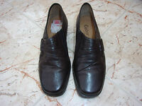 New GABOR COMFORT Ladies Brown Leather Flat Slip On Shoes size 3.5 H