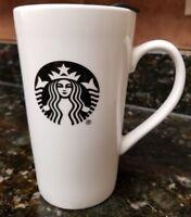 Starbucks Mug White w/Black and White Mermaid Symbol 14 oz.Ceramic w/ Travel Lid