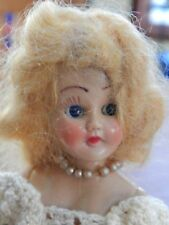 "Vintage Miniature ""Bride"" Doll-Hard Plastic- 1940's- 7 1/2"""