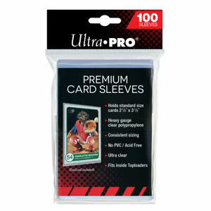 "ULTRA PRO PREMIUM CARD SLEEVES - FITS STANDARD 2 1/2"" x 3 1/2"" (1 PACK OF 100)"