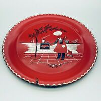 """VTG 1950 MCM Marcelline Stoyke BBQ Chef 19"""" Round Metal Serving Tray Wall Decor"""