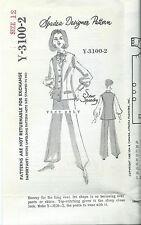 Spadea Y-3100-2 Designer sewing pattern VEST sew size 12 vintage 1968 mail order