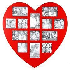 Cadre photo en bois Rouge Forme Coeur  60 x 60 cm   Pêle-mêle  13 photos