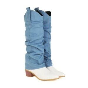 Cowboy Women's Western Pointy Toe Low Heel Mid Calf Knee High Boots Casual Shoes