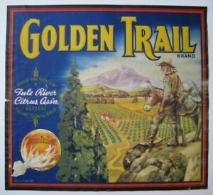 RARE Original Golden Trail Orange Crate label Miner mule gold panning Tule River
