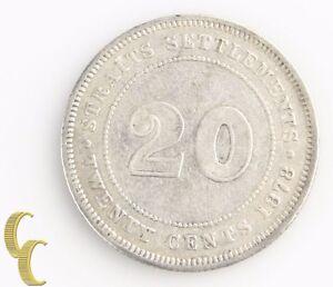 1878 Straits Settlements 20 Cents (Very Fine+, VF+) Silver 20c Twenty KM-12