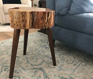 """Live Edge Accent Table - Extra Thick (4 3/4""""+) Top Epoxy Coated - Wood Legs"""