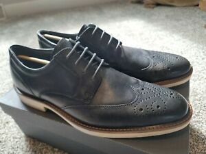 ECCO Biarritz Brogue Wingtip Leather Oxford Derby Shoes EU 45 US 11-11.5 black