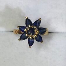 14k Solid Yellow Gold Flower Ring With Natural Sapphire Pear Cut 2.49GM/Size 6.5